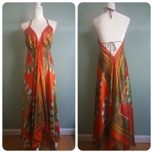 Dresses & Skirts - Dashiki Orange Satin Dress